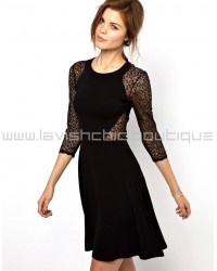 Vienna Lace Jersey Dress with Full Skirt
