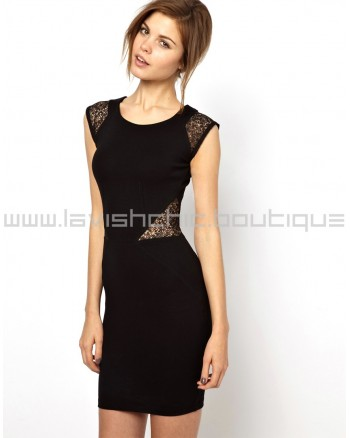 Black Vienna Lace Fitted Dress With Short Sleeves