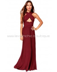 Tricks Of The Trade Burgundy Maxi Dress (Convertible Dress)