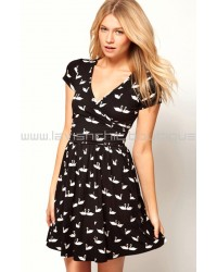 Skater Dress With Ballet Wrap In Swan Print