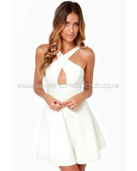 Cross Over Backless White Dress