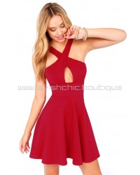 Cross Over Backless Burgundy Dress
