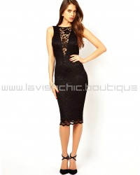 Elegant Lace Midi Dress With Sexy Cowl Back