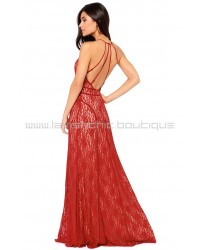 Another Late Night Wine Red Lace Maxi Dress