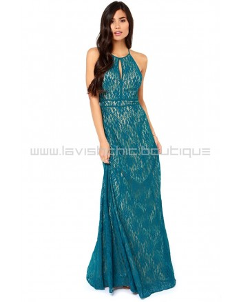 Another Late Night Teal Blue Lace Maxi Dress