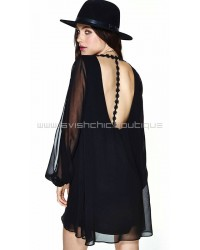 Long Sleeve Emboidery Cut Out Back Dress