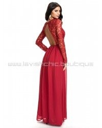 NLY Eve Long Sleeve Red Lace Dress