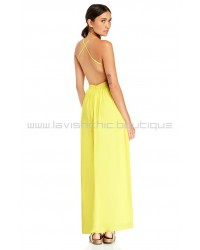 DL Backless Yellow Chiffon Maxi Dress