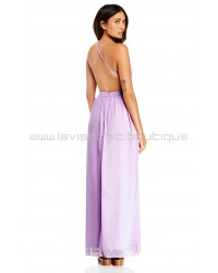 DL Backless Lavender Chiffon Maxi Dress