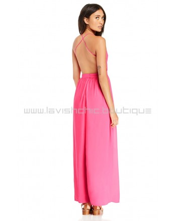 DL Backless Hot Pink Chiffon Maxi Dress