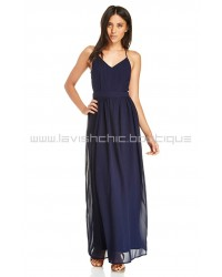 DL Backless Navy Chiffon Maxi Dress