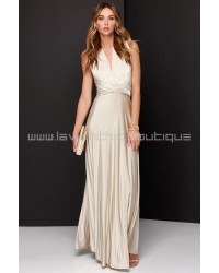 Always Stunning Convertible Beige Maxi Dress (Convertible Dress)