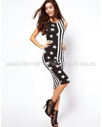 Star And Stripe Print Bodycon Midi Dress