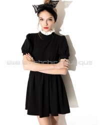 Black High Collar Dress