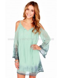 Breezy Does It Sage Green Tie-Dye Shift Dress