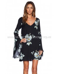 Free People Wanderer Charcoal Combo Mini Dress