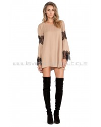 For Love & Lemons Taupe Festival Dress