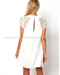 White Shift Dress With Lace Panel