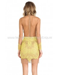 For Love & Lemons Antigua Mini Dress In Chartreuse