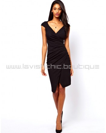 Pencil Dress With Ruched Wrap
