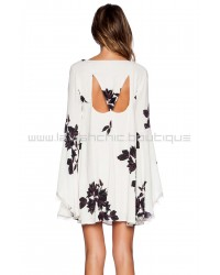 Free People Wanderer Ivory Combo Mini Dress