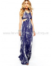 Missguided Cut Out Side Maxi Dress Navy Tie Dye