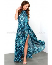 Ocean Waves Blue Print Maxi Dress