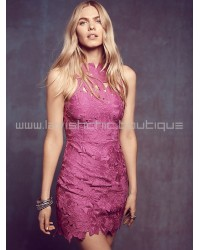 Saylor Jessa Magenta Lace Dress