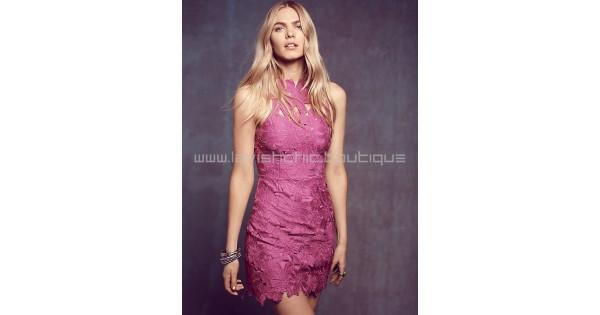 ef3180d055 Saylor Jessa Magenta Lace Dress