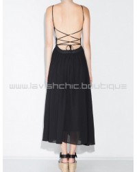 Pixie Market Black Wrap Lace Up Floaty Midi Dress