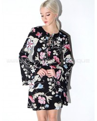 Pixie Market Black Floral Bell Sleeve Dress