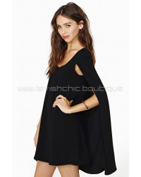 Nasty Gal Angel Cape Dress Black
