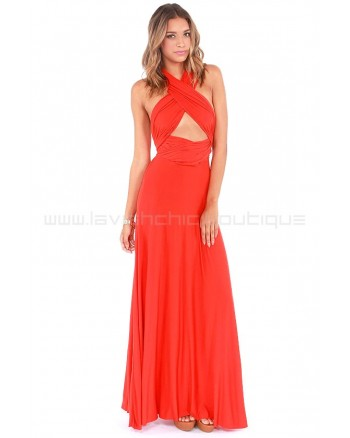Tricks Of The Trade Orange Red Maxi Dress (Convertible Dress)
