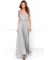 Tricks Of The Trade Light Grey Maxi Dress (Convertible Dress)