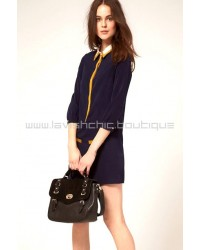 Retro Preppy Navy Blue Dress With Collar