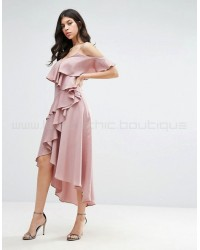 True Decadence Frill Midi Dress with Cold Shoulder