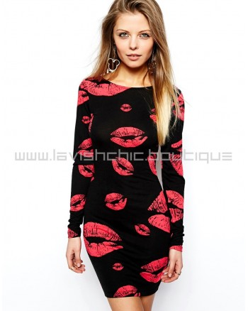 Lip Print Bodycon Dress