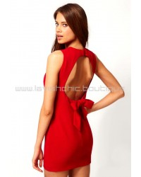 Mini Bodycon Dress With Open Bow Back