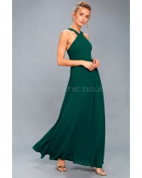 Air Of Romance Forest Green Maxi Dress