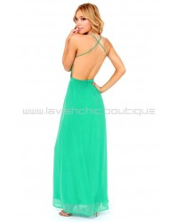 Rooftop Garden Backless Maxi Dress