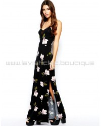Orchid Print Mesh Panelled Maxi Dress