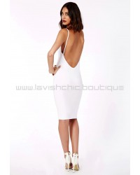Low Back Strappy Midi Dress White