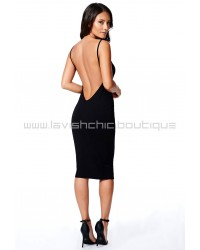 Low Back Strappy Midi Dress Black