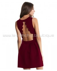 Skater Dress With Open Scallop Back