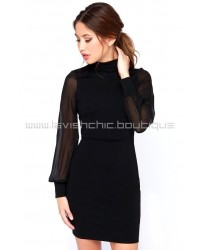 Crowd Work Black Long Sleeve Dress