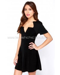 Shoulder To the Wow Black Quilted Dress