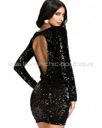 Velvet Sequins Open Back