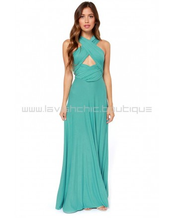 Tricks Of the Trade Turquoise Maxi Dress (Convertible Dress)