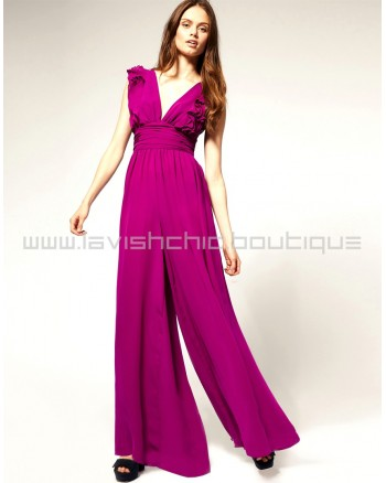 Ruffle Jumpsuit With Wide Leg