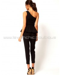 Embellished Peplum Jump With One Shoulder